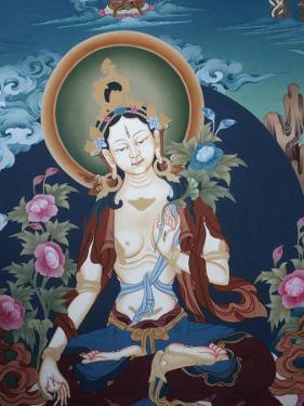 Thangka Depicting White Tara Goddess, Buddhist Symbol of Long Life, Bhaktapur, Nepal, Asia by Godong