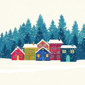 Winter Mountain Houses. Winter Landscape by gokcen gulenc