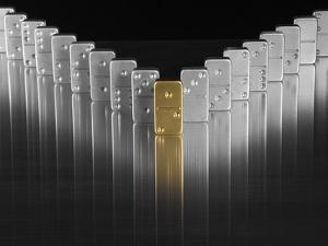 Gold and silver dominoes