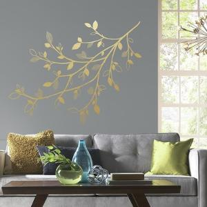 Gold Branch Peel and Stick Giant Wall Decals with 3D Leaves