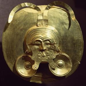 Gold Breastplate with a Central Mask with Gold Nose Rings
