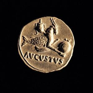 Gold Coin of Augustus Aureus, 18-16 A.D. Ancient Roman coin. Palazzo Massimo, Rome, Italy