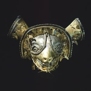Gold Feline Mask with Platinum Eyes, Originating from La Tolita