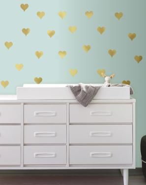 Gold Heart Peel and Stick Wall Decals