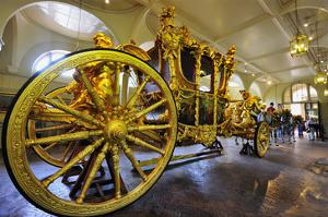 Gold State Coach in the Royal Mews, Buckingham Palace, London, South of England