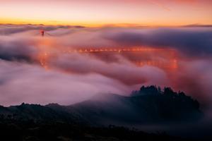 Golden Gate Bridge Enraptured By Fog, Marin Headlands