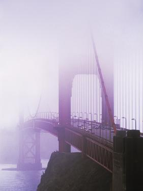Golden Gate Bridge in fog, San Francisco, California, USA