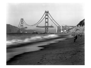 Golden Gate Bridge under Construction, From Baker Beach, c.1936