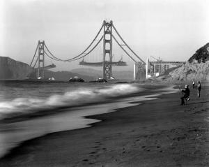 Golden Gate Bridge under Construction, From Baker Beach, c.1936