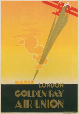 Golden Ray Biplane Poster