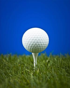 Golf Ball on Tee Blue Back