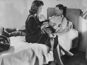 Golfer Byron Nelson and His Wife Relaxing in their Hotel Room
