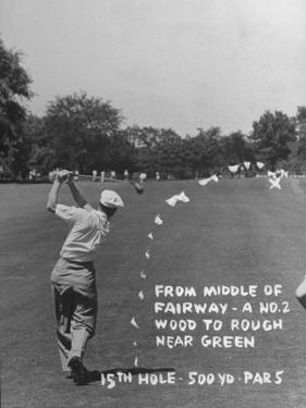 Golfer Byron Nelson Making His Second Shot on 15th Hole