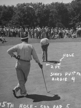 Golfer Byron Nelson Putting on the 15th Green