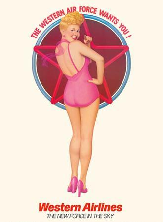 The Western Air Force Wants You - Pin Up Girl - Western Airlines by Gomez