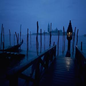 Gondola Moorings and the Eternal Light, with San Giorgio Maggiore in the Background