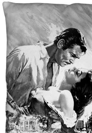 Gone With The Wind - Bw Poster Throw Pillow