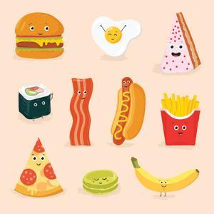 Face Icon Pizza Cake Scrambled Eggs Bacon Banana Burger Hot Dog Roll French Fries. Funny Food Carto by GoodStudio