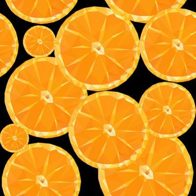 Low Poly Polygon Sliced Fruit Orange Seamless Texture Pattern by goodwin_x