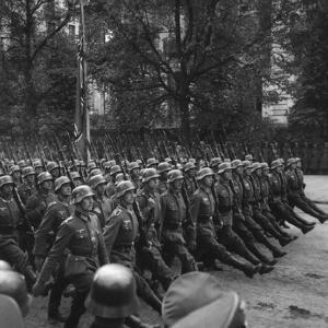 Goose-Stepping German Troops in a Victory Parade Through Warsaw, Poland. Sept. 1939