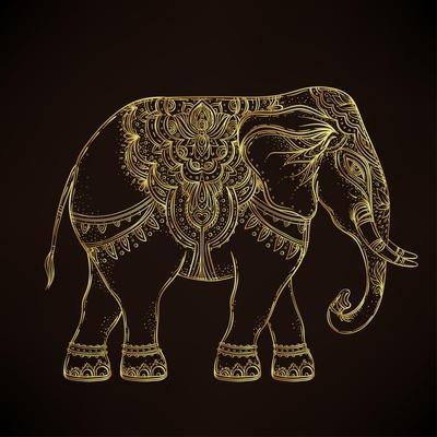 Beautiful Hand-Drawn Tribal Style Elephant. Golden Design with Boho Mandala Patterns, Ornaments. Et