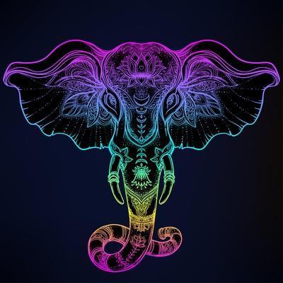 Beautiful Hand-Drawn Tribal Style Elephant. Tattoo Design, Boho Mandala Patterns. Ethnic Background