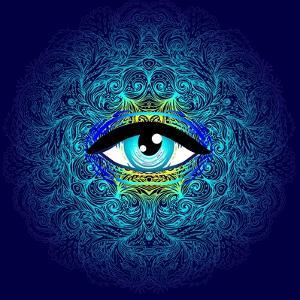 Sacred Geometry Symbol with All Seeing Eye in Acid Colors. Mystic, Alchemy, Occult Concept. Design by Gorbash Varvara