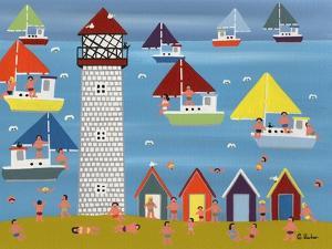 Sailing at Lighthouse Beach by Gordon Barker