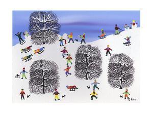 Sledding on Pine Hill by Gordon Barker