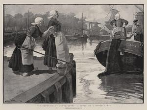 An Exchange of Compliments, a Scene on a Dutch Canal by Gordon Frederick Browne