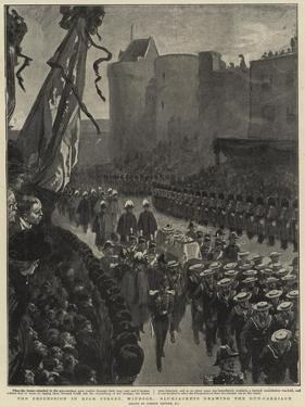 The Procession in High Street, Windsor, Bluejackets Drawing the Gun-Carriage by Gordon Frederick Browne