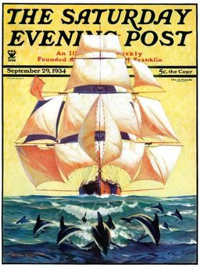 """""""Dolphins and Ship,"""" Saturday Evening Post Cover, September 29, 1934 by Gordon Grant"""