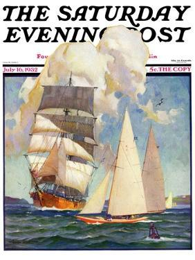 """""""Ship and Sailboats,"""" Saturday Evening Post Cover, July 16, 1932 by Gordon Grant"""
