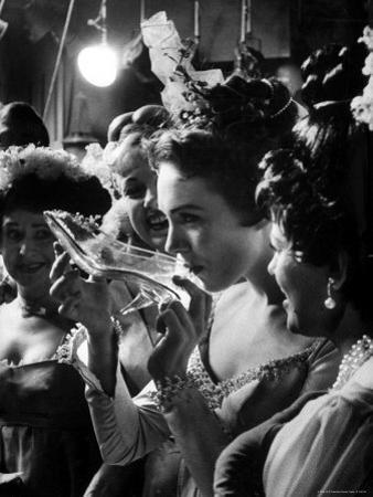 Julie Andrews Taking a Sip from the Glass Slipper During the TV Production of Cinderella