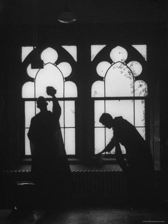 Monks Cleaning Windows of the Monastery's Sacristy