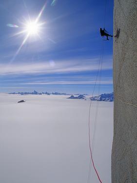 A Mountaineer Ascends Rakekniven Spire in Queen Maud Land, Antarctica by Gordon Wiltsie