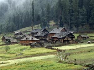 Kashmiri Village in Warwan Valley Beneath a Deodar Forest by Gordon Wiltsie