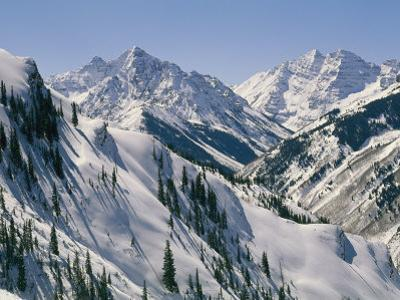 Pyramid Peak, 14,018 Feet, and Maroon Bells, Right, 14,156 Feet from Snowmass by Gordon Wiltsie