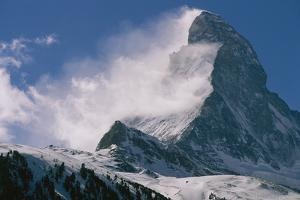 Snow Blows off of the Matterhorn Above Zermatt by Gordon Wiltsie