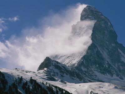 Snow Blows off of the Matterhorn Above Zermatt by Gordon Wiltsie