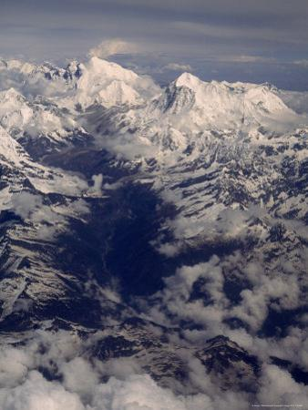 View of Mount Everest Massif and Makalu, Above the Barun River by Gordon Wiltsie