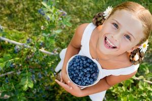 Blueberries, Summer, Child - Lovely Girl with Fresh Blueberries in the Garden by Gorilla