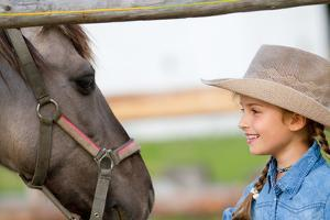 Ranch - Lovely Girl with Horse on the Ranch, Horse Whisperer by Gorilla
