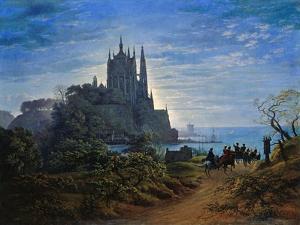 Gothic Church on a Cliff by the Sea by Karl Friedrich Schinkel