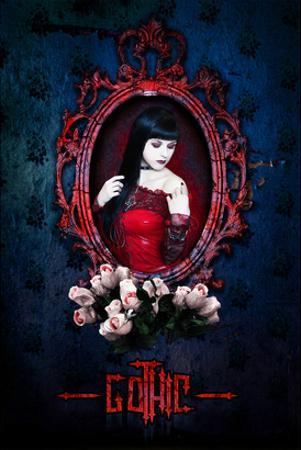 Gothic Girl in Red with roses