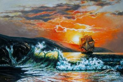 Sunset at the Sea. A Sailboat with Waves. Oil Painting by Gouache7