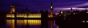 Government Building Lit Up at Night, Big Ben and the House of Parliament, London, England, UK