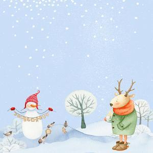 Deer and Snowman in Snowy Winter Forest by Grab My Art