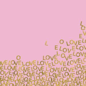 Pink Gold Glitter Pattern Love-Square by Grab My Art