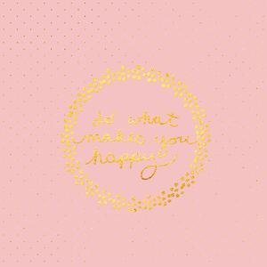 Pink Gold Glitter Pattern Typography-Square by Grab My Art